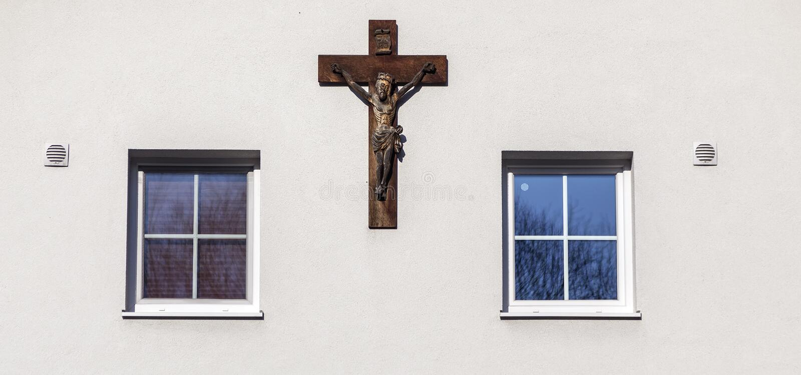 Cross on Wall stock images