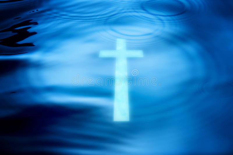 Cross Water Christianity Background stock image