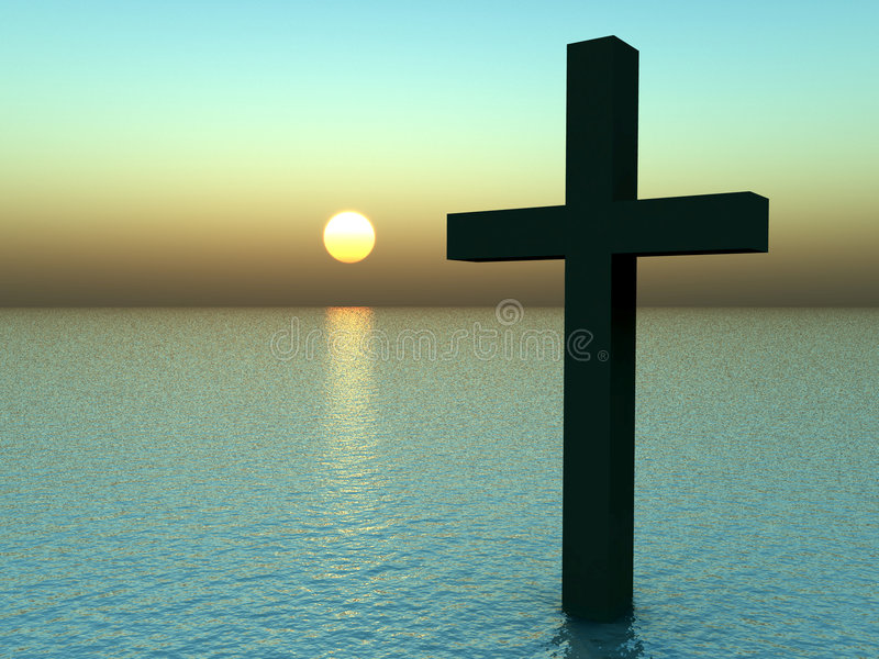 The Cross In Water At Sunrise 21. A conceptual image of the religious symbolic cross, in the water with a sunset or sunrise background stock illustration
