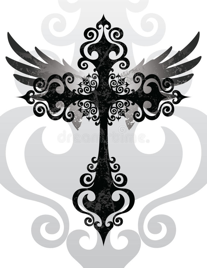 Cross and Wings. Stylized cross and angel wings vector illustration