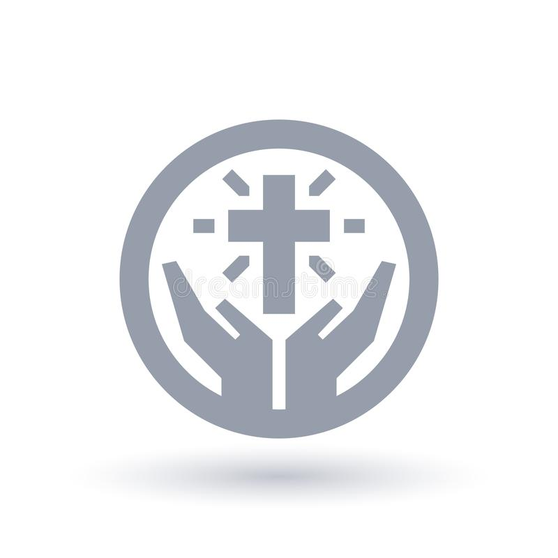 Free Cross With Hands Icon. Christian Worship Symbol. Church Praise S Stock Photography - 114013612