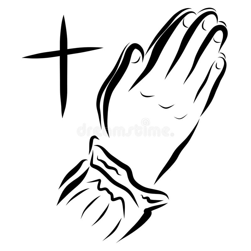 Cross and woman praying to God, hands vector illustration