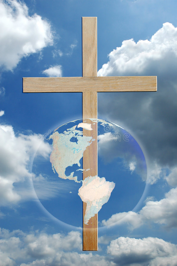 Cross and World royalty free illustration