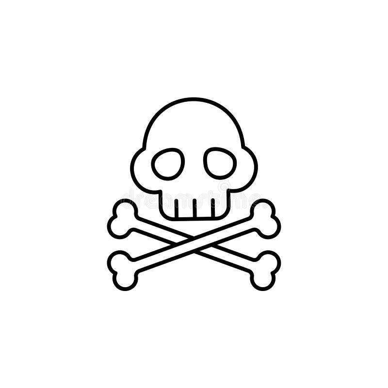 Crossbones, ícone pirata Elemento do ícone de linha fina pirata ilustração do vetor