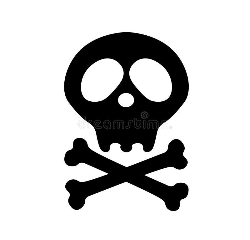 crossbones danger ou icône plate de poison pour des apps et des sites Web Partie du corps squelettique Symbole heureux de signe d illustration libre de droits