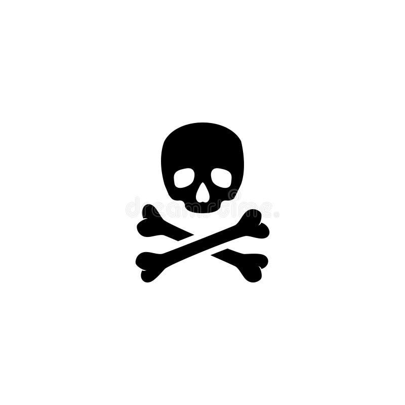 crossbones Icône plate de vecteur de crâne de la mort photos stock