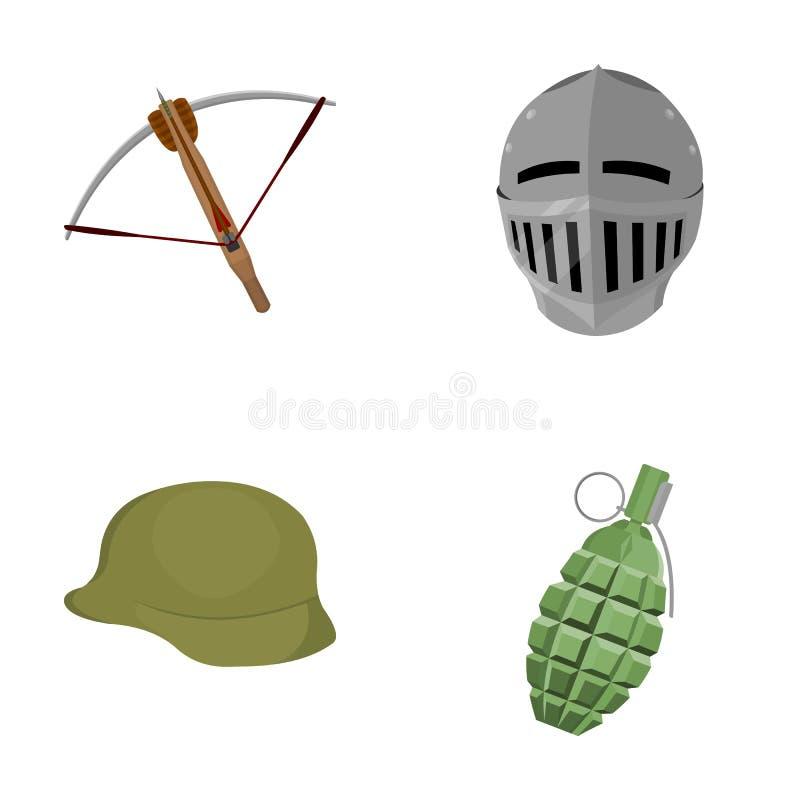 Crossbow, średniowieczny hełm, żołnierza ` s hełm, granat ręczny Bronie ustawiać inkasowe ikony w kreskówce projektują wektoroweg ilustracji
