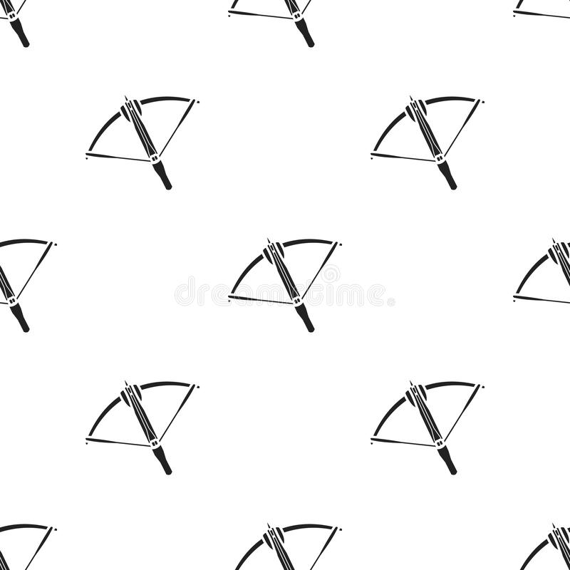 Crossbow icon in black style isolated on white background. Weapon pattern stock vector illustration. stock illustration