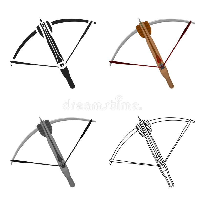 Crossbow icon cartoon. Single weapon icon from the big ammunition, arms set. stock illustration
