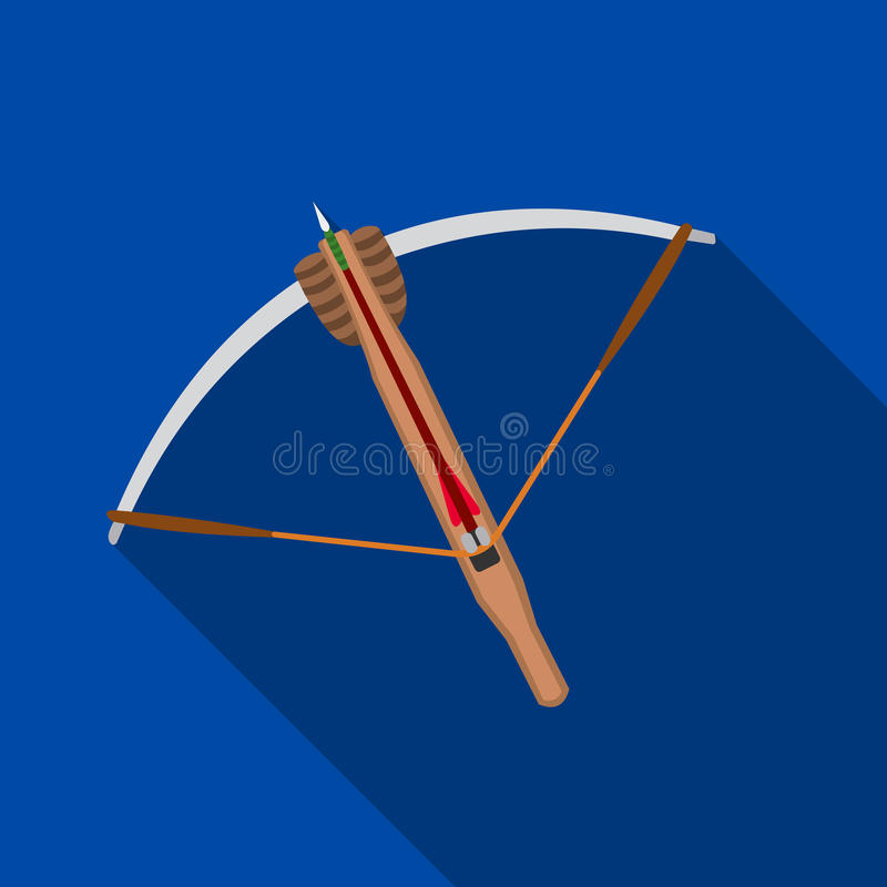 Crossbow icon flate. Single weapon icon from the big ammunition, arms set. royalty free illustration