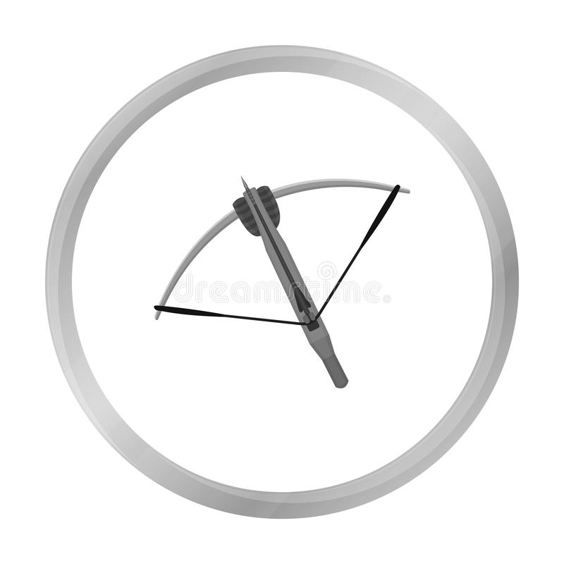 Crossbow icon monochrome. Single weapon icon from the big ammunition, arms set. stock illustration