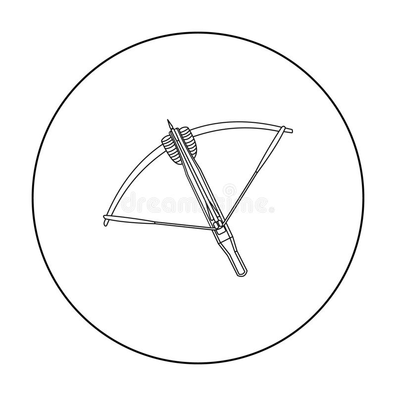 Crossbow icon outline. Single weapon icon from the big ammunition, arms set. royalty free illustration