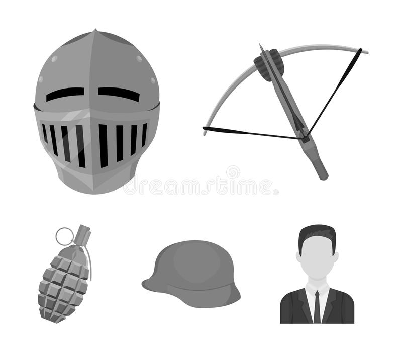 Crossbow, medieval helmet, soldier`s helmet, hand grenade. Weapons set collection icons in monochrome style vector royalty free illustration