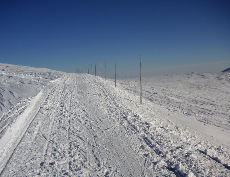 Crosscountry skiing route marked with wooden sticks. Crosscountry skiing route in Krkonose marked with wooden sticks stock image