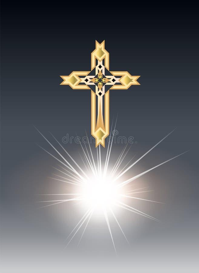 Crosse золота Religioush с предпосылкой лучей солнца прозрачной иллюстрация вектора
