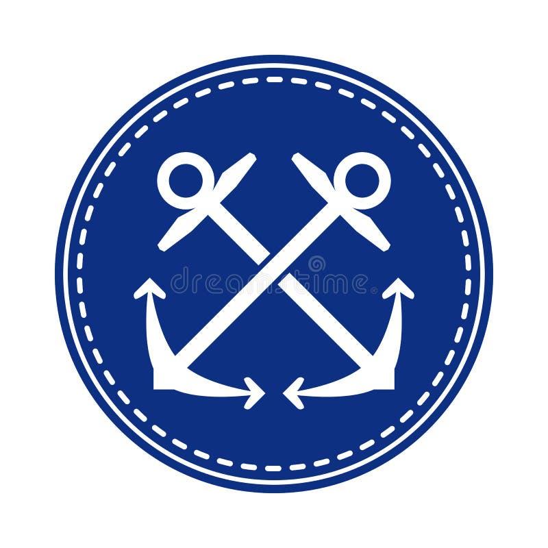 Crossed anchors symbol in blue circle. Crossed anchors symbol, negative in navy blue circle. Sailing and nautical equipment  symbol vector illustration