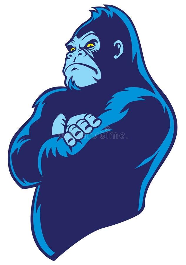 Crossed arm gorilla stock illustration
