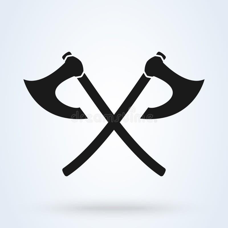 Crossed ax viking isolated on white background. Vector illustration stock illustration