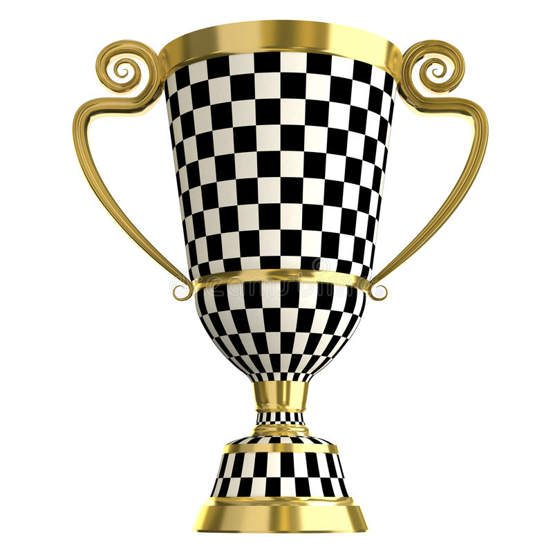Crossed checkered trophy golden cup, symbols of