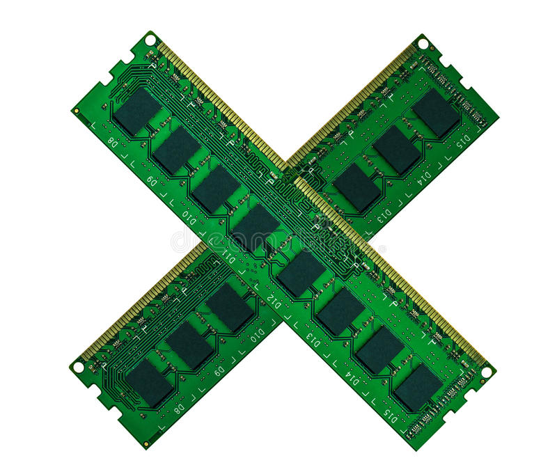 Download Crossed Computer Memory Board Isolated On White Stock Image - Image: 39782661