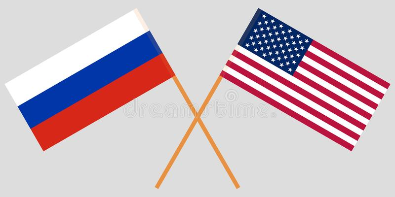 Crossed desktop flags United States of America and Russia . US and RF negotiation. Vector vector illustration