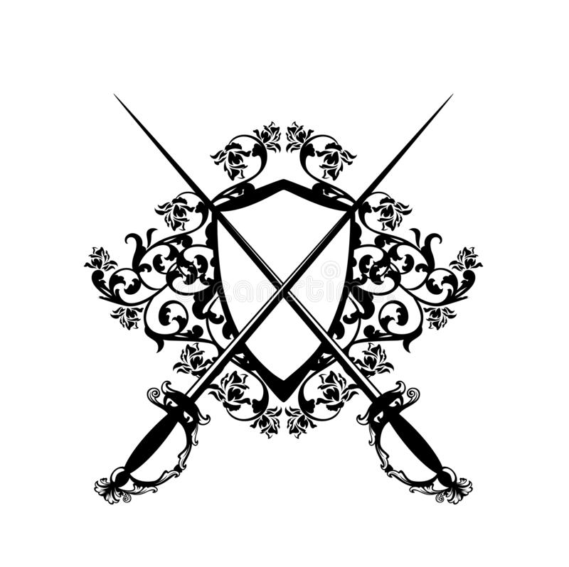 Free Crossed Epee Swords And Shield Vector Royalty Free Stock Images - 138183749