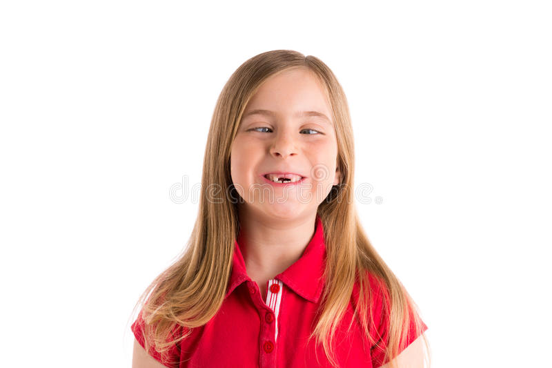 Crossed eyes blond girl funny expression gesture stock images