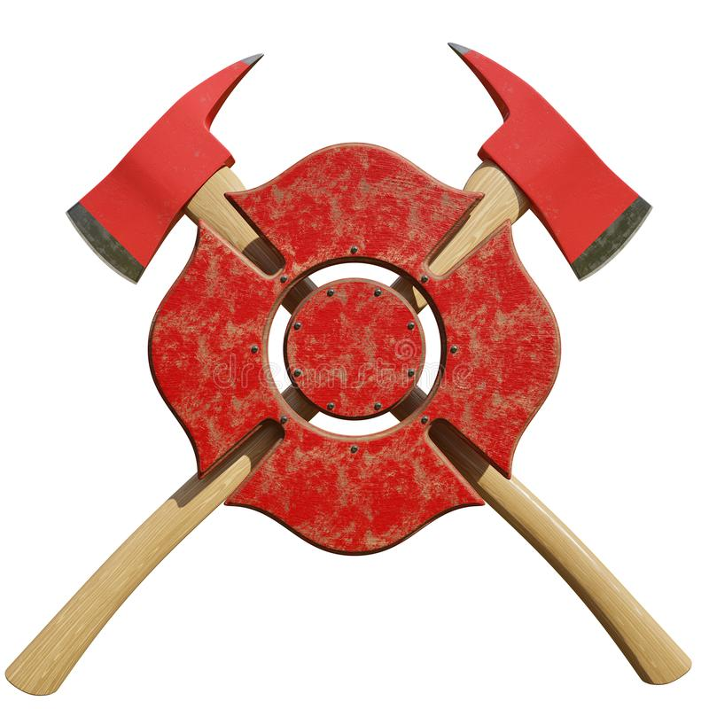 Crossed Firefighter Axes Behind Firefighting Symbol Stock