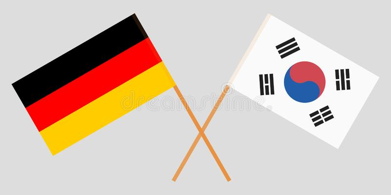 Crossed flags South Korea and Germany. Official colors. Correct proportion. Vector. Illustration stock illustration