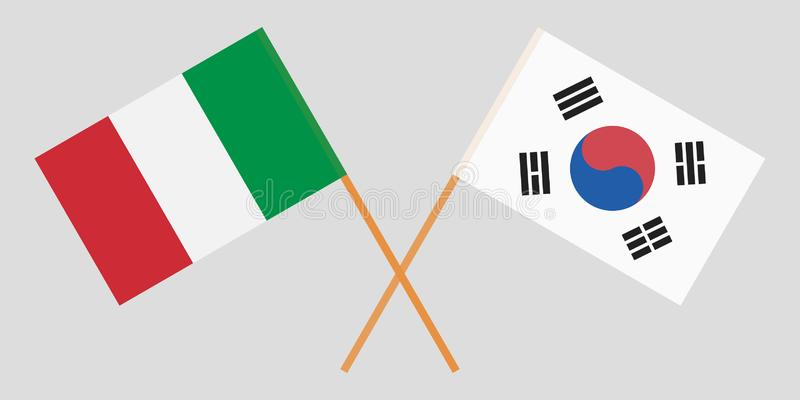 Crossed flags South Korea and Italy. Official colors. Correct proportion. Vector. Illustration royalty free illustration
