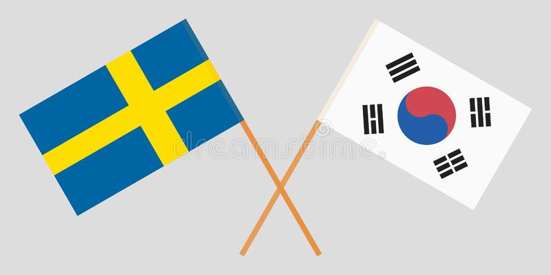 Crossed flags South Korea and Sweden. Official colors. Correct proportion. Vector vector illustration