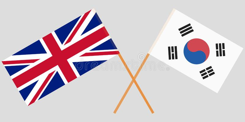 Crossed flags South Korea and UK. Official colors. Correct proportion. Vector. Illustration vector illustration
