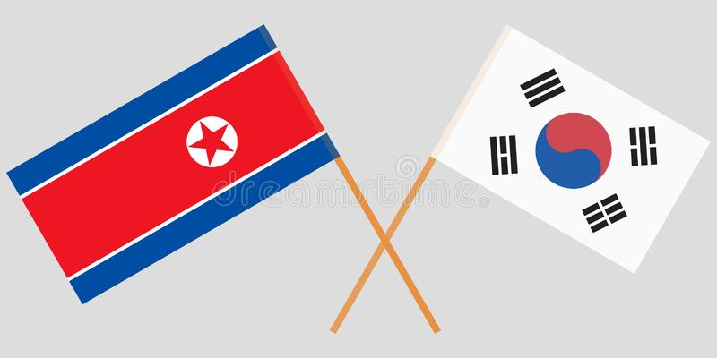 Crossed flags South Korea and USA. Official colors. Correct proportion. Vector. Illustration vector illustration