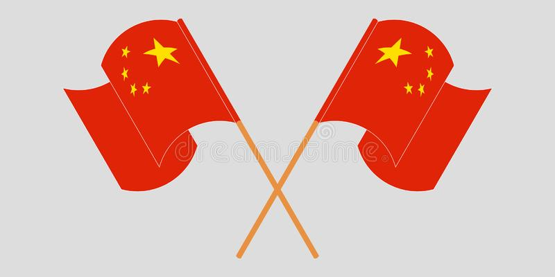 Crossed and fluttering flags of China and China. Vector illustrationn royalty free illustration