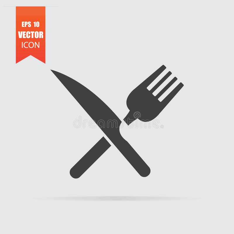 Crossed fork and knife icon in flat style isolated on grey background stock photo
