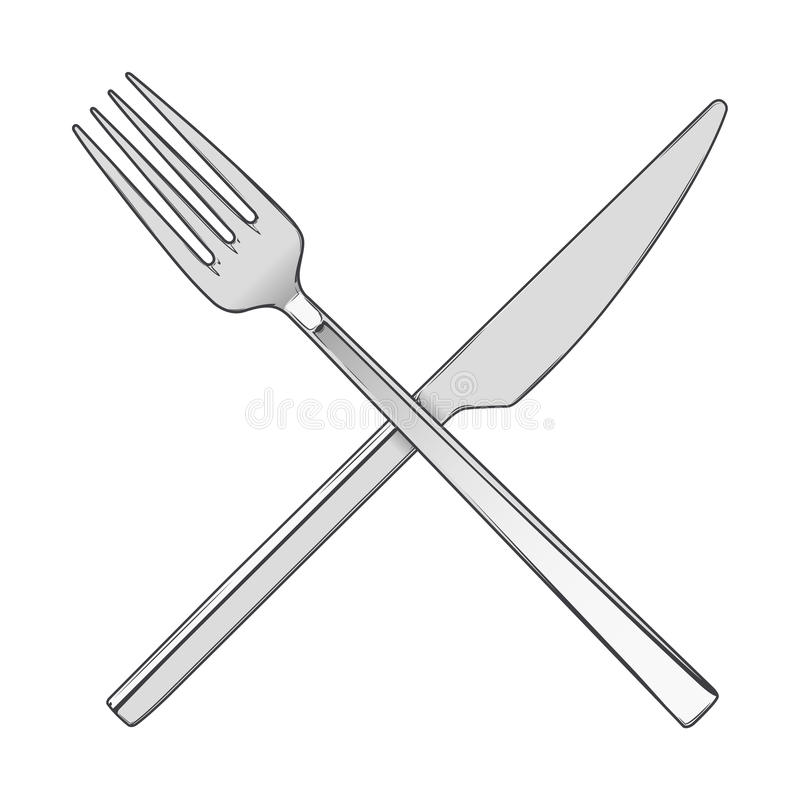 Line Drawing Knife And Fork : Crossed fork and knife isolated on a white background
