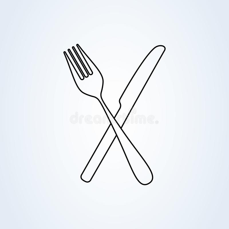 Crossed fork over knife line art. icon isolated on white background. Vector illustration royalty free illustration