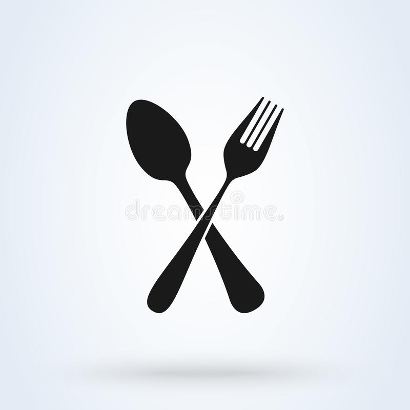 Crossed fork and spoon. icon isolated on white background. Vector illustration stock illustration