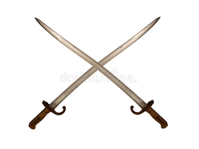 Crossed French Yataghan Swords on White Background. Antique yataghan sword bayonets for French Chassepot rifles are shown crossed on a white background royalty free stock image