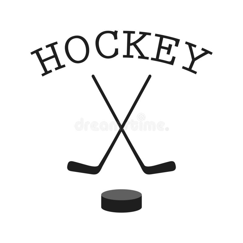 Crossed hockey sticks and puck - vector illustration. Hockey clipart. Flat vector icon isolated on white. Background vector illustration