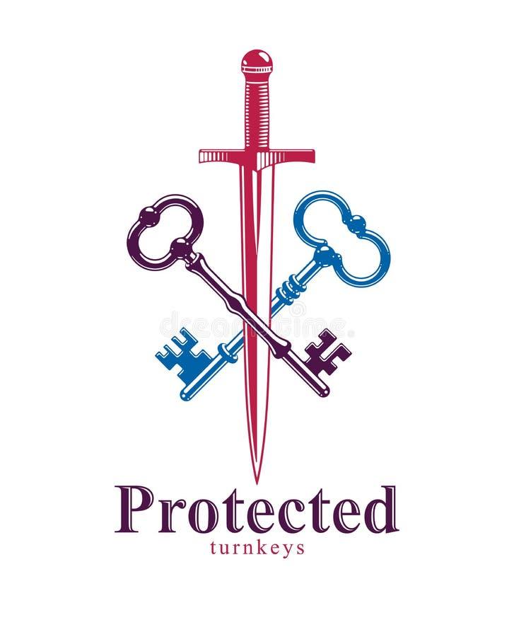 Crossed keys and dagger vector emblem, turnkeys and sword, protected secrets, secured power, ancient vintage logo or emblem. Crossed keys and dagger vector royalty free illustration