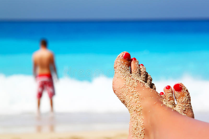 Download Crossed legs on the beach stock image. Image of relaxation - 33585861
