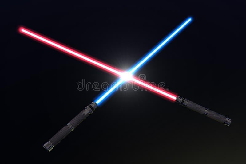 Crossed light sabers stock illustration