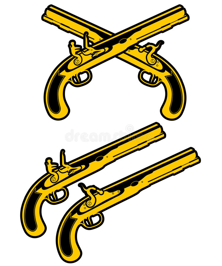 Download Crossed Muzzle Loading Pistols Stock Vector - Image: 16497635