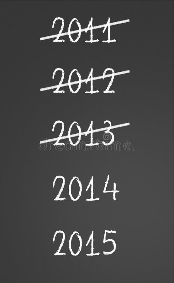 2011, 2012, 2013 Crossed And New Years 2014, 2015 Stock Image
