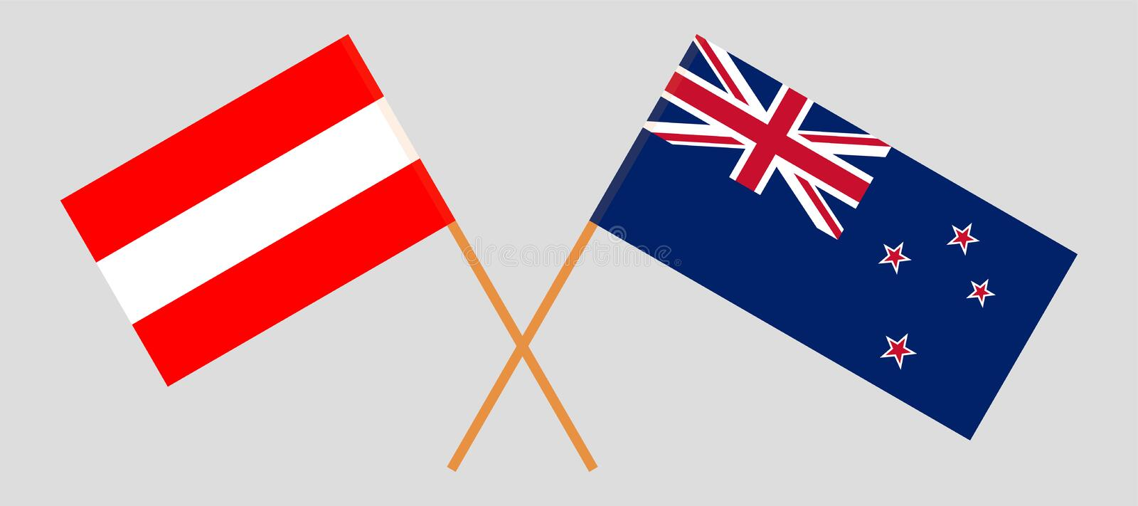 Crossed New Zealand and Austrian flags. New Zealand and Austria. Crossed New Zealand`s and Austrian flags. Official colors. Correct proportion. Vector stock illustration