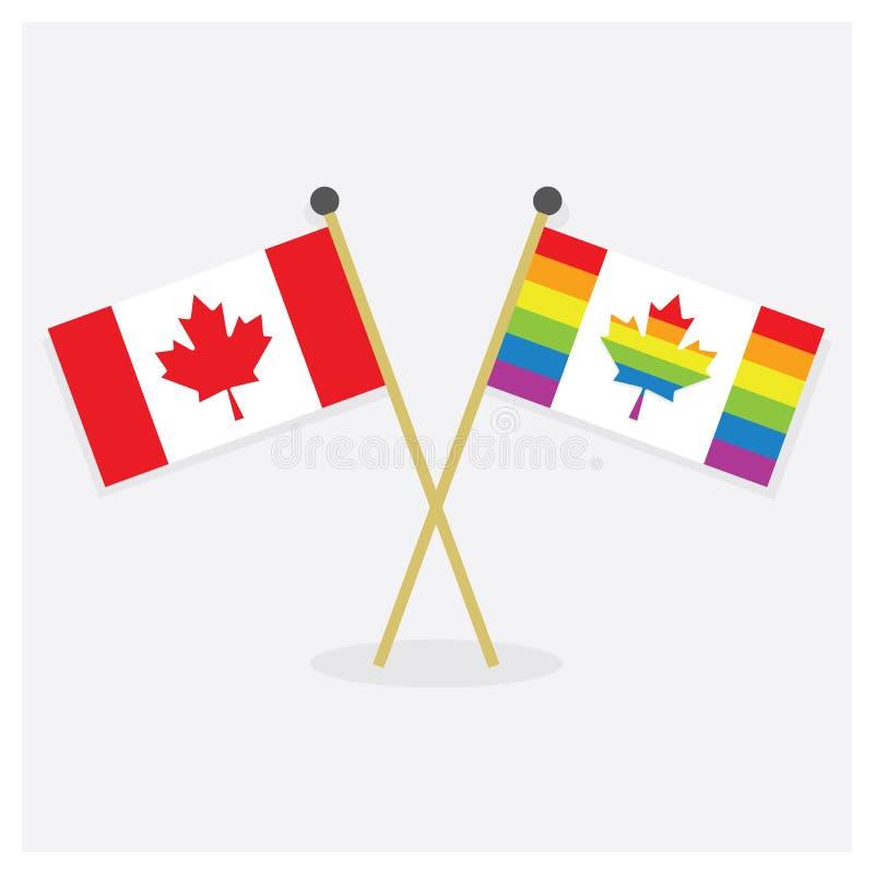 Crossed original Canada flag and colorful Canada Pride flag icons stock illustration