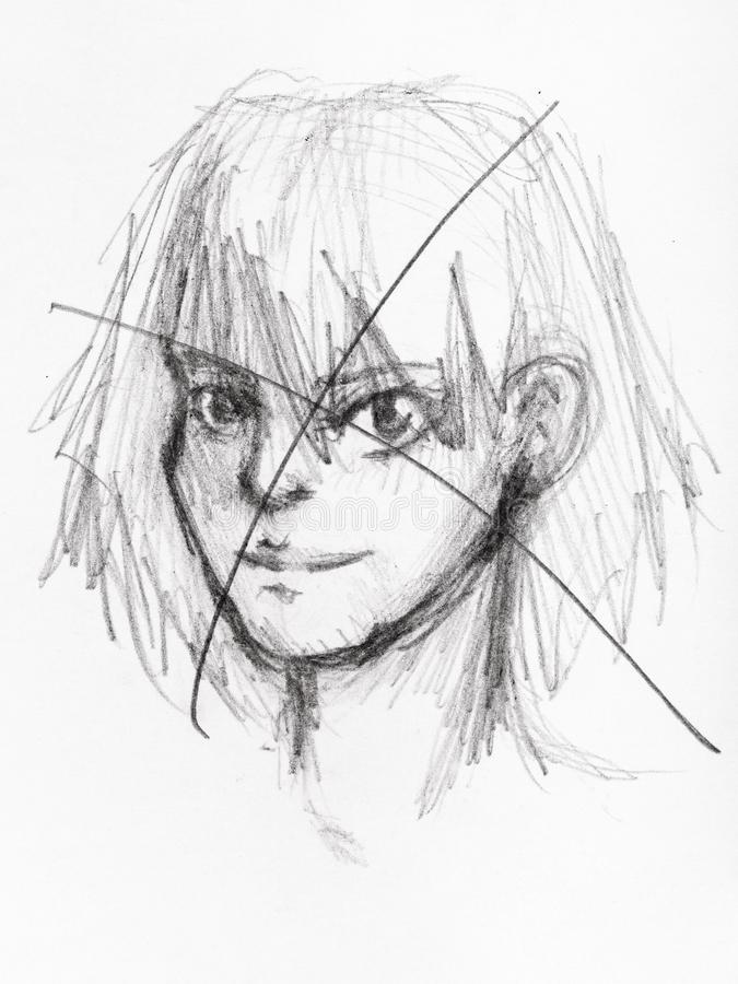 Crossed out sketch of savage girl by pencil stock illustration