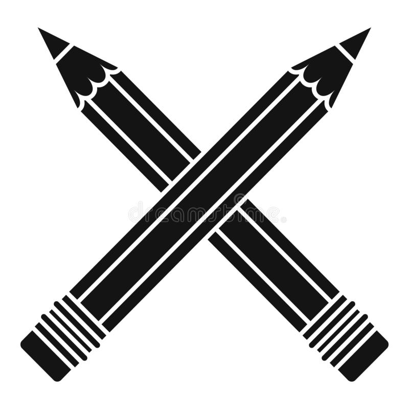 Crossed pencil icon, simple style royalty free illustration
