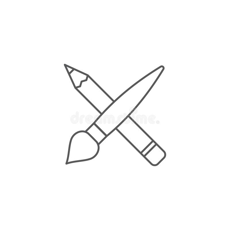 Crossed pencil and paint brush vector icon symbol isolated on white background royalty free illustration